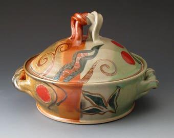 Pottery Stoneware Pie Plate With Flower Design Ceramic
