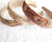 Mauve ivory taupe beaded embroidered headbands,  1 inch
