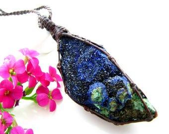Azurite necklace, Azurite pendant, Azurite Druzy, Crystal cluster, Azurite jewelry, blue, Macrame pendant, Healing Stones and Crystals