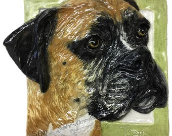 Boxer Dog CERAMIC Portrait Sculpture 3D Dog Art Tile Plaque FUNCTIONAL ART by Sondra Alexander Semi-Custom Made to Order
