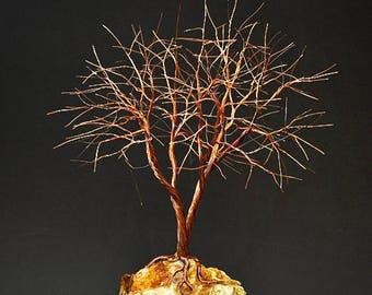 Hand Twisted Metal Copper Wire Tree Art Sculpture  - 2272 - FREE SHIPPING
