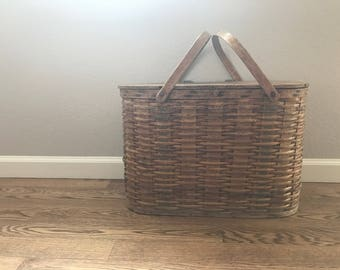Old Rustic Picnic Basket / Vintage /Farmhouse Decor / Distressed / Extra Large