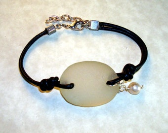 Sea Glass Bracelet -White Sea Glass with Black Leather Cord Freshwater Pearl Charm