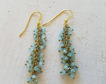Aqua Chalcedony Fringe Stone Gold Earrings