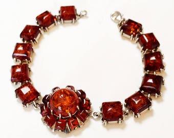 Faceted Amber Link Bracelet Center Medallion Prong Set Stones Vintage