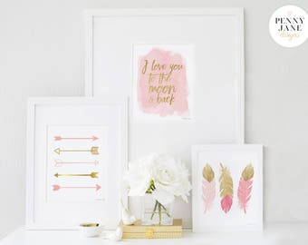 I Love You to The Moon and Back Nursery Decor, Nursery Wall Art, Printable Art Print, Baby Shower Gift, Nursery Sign, Pink and Gold Decor