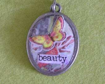 Mixed Media Silver Pendant with Butterfly