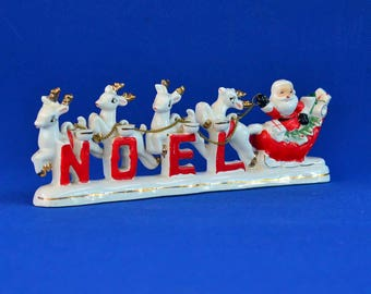 Santa and Sleigh NOEL Candle Holder - Relco Ceramic - Santa Claus and Reindeer - Original Box - Vintage Christmas Décor - Holiday Decoration