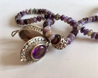 Natural Amethyst Necklace-Bali Sterling Silver Locket Necklace