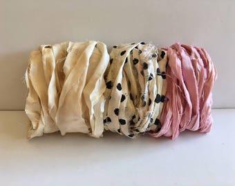 Silk Sari Ribbon-Antique White, Dot, Pink Recycled Sari Ribbon-9 Yards
