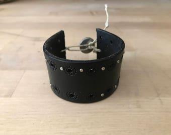 Black Leather Bracelet Cuff//Upcycled //Fashion Accessory