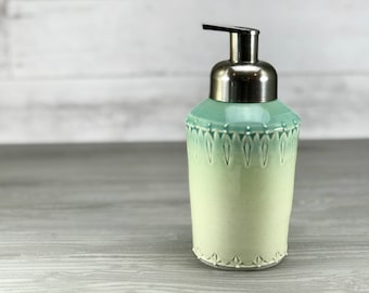 Porcelain foaming soap dispenser, Ombrè blue green glazed foam soap dispenser. Brushed nickel pump. Blue bathroom. Green bathroom. Ceramic.