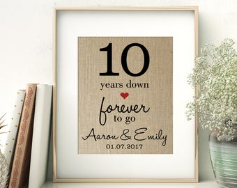 10 Years Down - Forever to Go | 10th Tenth Wedding Anniversary Personalized Burlap Print | Gift for Wife Husband | Personalize for ANY Year