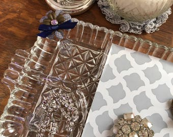 Upcycled vintage vanity tray - blue purple flower