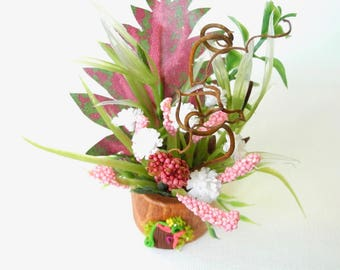 Sweet Miniature Fairy House Pot with Miniature Dollhouse Bouquet of Flowers in Pink and Green, Miniature Garden, Whimsical, One Inch Scale