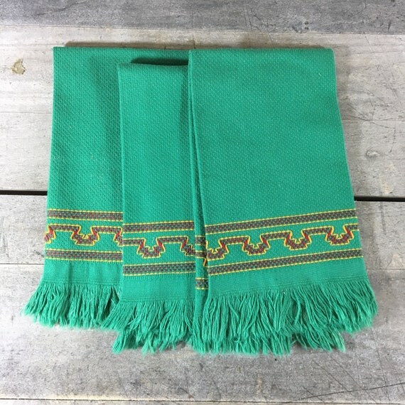 Set of 3 Vintage Cotton Pique Fringed Tea Towls in Green with Red and Gold Stitching