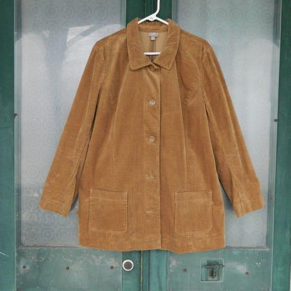 J. Jill Placket Jacket -XL- Camel Wide Wale Cotton Corduroy