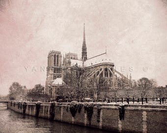 Paris photography, Notre Dame de Paris, Black and white photography, Paris wall decor, winter photography, Paris decor