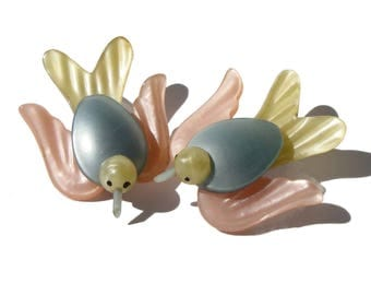 Vintage Moonglow Pearlized Lucite Bird Brooches - Set of 2 Pins