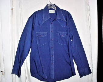Vintage 70s Mens Blue Long Sleeve Shirt L Overstitching KMart Permanent Press