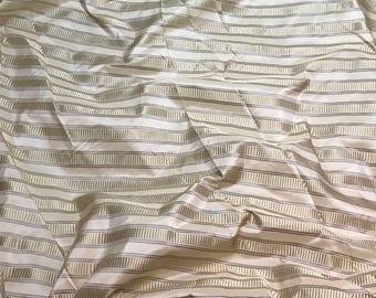 Silk Taffeta Fabric - Cream Satin Stripes - fat 1/4