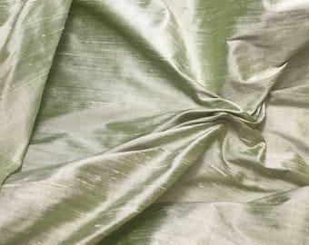 Pastel Green Silk DUPIONI Fabric - fat 1/4
