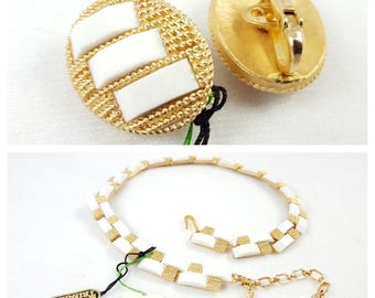 "Vintage Golden Lucite Trifari - Set of 2 - White ""Tahiti"" - Necklace - Earrings - Old New Stock - Tagged and Flawless - 50's/60's"
