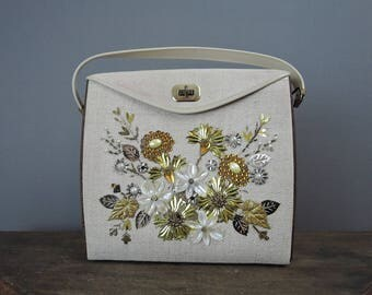 Vintage Decorated Purse, 1960s Kit Purse with Floral Sequins, Fabric & Wood