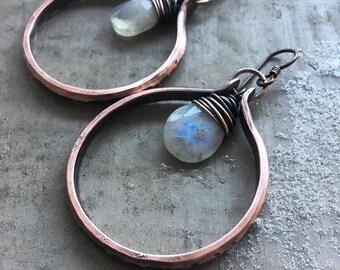 Moonstone Earrings Copper Hoop Earrings Wire Wrap Earrings Healing Crystals Copper Hoops Rustic Jewelry DanielleRoseBean Dangle Earrings