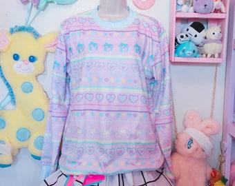 Kawaii Pastel Shooting Star Fairy Kei Sweater, Bear Sweater, Kawaii Sweater, Pastel Sweater