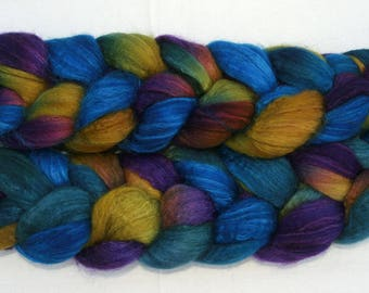 Blueface Leicester Tussah Silk Spinning Fiber - 'Really Really Rich'