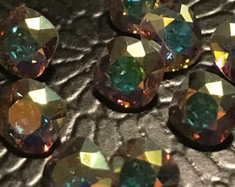 2pc 8mm Crystal AB Squares Article 4471 Vintage Swarovski Many Facets for Spectacular Reflection and Sparkle