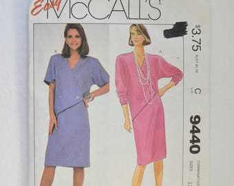 1980s UNCUT Vintage McCall's Sewing Pattern 9440 Womens Straight Pullover Dress, V Neckline, Asymmetrical Front, Taper Sleeves Size 12,14,16