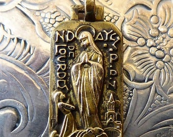 CLEARANCE SALE Mid Century Modern Gold French Religious Medal Our Lady Of Lourdes Blessed Virgin Mary, Saint Bernadette Soubirous Catholic P