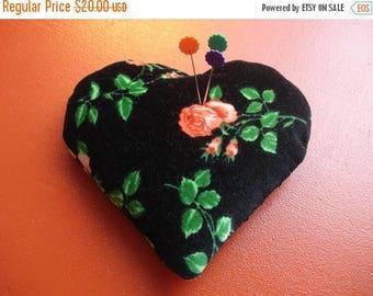 50% OFF SALE Vintage Velveteen Roses Heart Sachet Pin Cushion