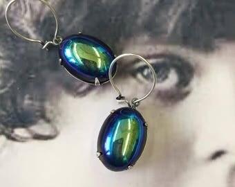 Vintage West German Jet Glass Glacier 13x18 Cabochon Earring Kit Options 646SOX x2