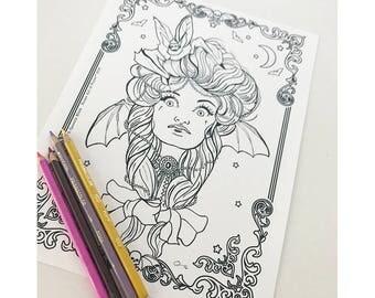 Vampire Girl Bat Girl 1 Download Coloring Page Pocket Full of Posiez