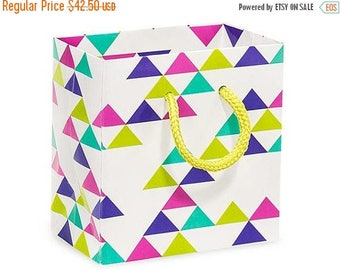 New Years Sale 50 Pack Retro Multicolor Recycled 4 x 2.5 x 4 inch Paper Handle Merchandise Bags