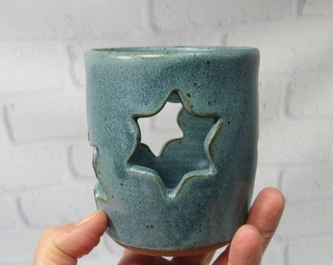 Featured listing image: Hanukkah Candle Holder, Hanukkah Decor, Pencil Holder, Ceramic Pencil Holder, Pottery Sponge Holder, Candle Holder, Blue Flower Vase