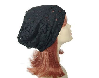 Lace Slouchy Hat Black Lace Turban Summer Lacey Slouch Hat Black Floral Lace Hat Black Floral Beanie Custom Size Slouchy Beanie Lace  Hat
