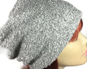 CUSTOM SIZES/LINING  Light Gray Sequin Sweater Knit Slouchy Hat Gray Sequin Hat Gray Boucle Knit Hat Soft Slouchy Beanie Chemo Hat Hair Loss