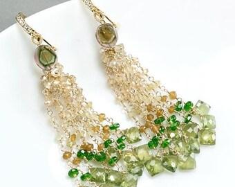 Summer SALE Watermelon Tourmaline earrings. Gemstone tassel earrings in 14k gold filled, Gemstone chandelier earrings, CZ pave vermeil hoops