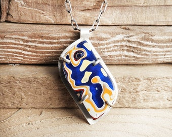 Detroit Agate necklace, sterling silver fordite jewelry, girlfriend gift for wife, statement necklace, Fordite necklace