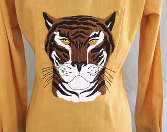 Vintage 1970's Gold Western Shirt with Embroidered Tiger, Modern Size 10, Medium
