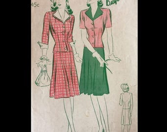 Vintage 40s Nipped Wasp Waist Layered Pointed Collar Flared Skirt Suit Sewing Pattern 2548 B36