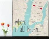 Cotton Anniversary Gift Ideas Where it all began custom map, Personalized Couple, Wedding Anniversary Gift Romantic Art Unique Gift Idea