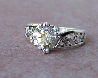 1.5ct Lab White Sapphire Sterling Silver Ring, Cavalier Creations