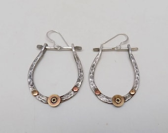 Sterling silver earrings. Steampunk earrings.Hoop earrings.