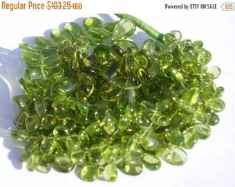 Sale 45% off Full 8 Inches - Finest Quality Genuine Peridot Smooth Polished Pear Briolettes Size 7x4 - 10x6mm Approx