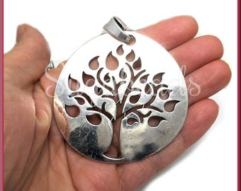 1 Large Silver Tone Tree Pendant - Round Tree Pendant 70mm PS18